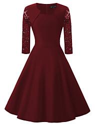 Feminino balanço Vestido,Festa Para Noite Casual Vintage Simples Moda de Rua Sólido Decote Quadrado Altura dos Joelhos Meia MangaAlgodão