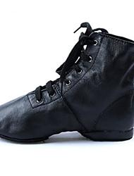 Women's Jazz Cowhide Flats Heels Practice Black