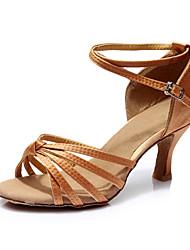 Women's Latin Silk Sandals Indoor Customized Heel Dark Brown Customizable