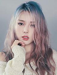 Punk Lolita Blue Gold Shallow Taro Long Curls Lolita Wig