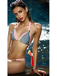 Women's Halter Bikini,Plunging Neckline / Color Block Polyester Pink / Blue / Brown / Black / Light Blue
