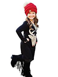 2017 New Fashion Girl's Print Dress Cotton Spring Fall Winter Long Sleeve Deer Head Kids Girls Dresses