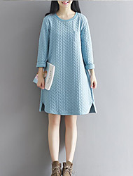 Women's Going out Loose Dress,Solid Round Neck Knee-length Long Sleeve Knit Spring Mid Rise Micro-elastic Thick