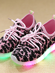 Kids Boys Girl's Sneakers Light Up Shoes Leather Tulle Spring Summer Fall Casual Outdoor Walking Light Up Shoes LED Lace-up Low HeelBlushing Pink