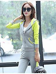 Sweat à capuche Pantalon Costumes Femme,Couleur Pleine Décontracté / Quotidien simple Automne Manches longues Micro-élastique