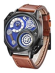 OULM Quartz Watch Leather Band Dual Time Zone Black Brown Sport Casual Men Style Big Dial Wistwaches Man Wathes