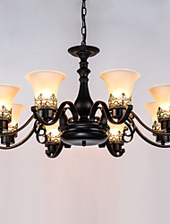Eight Heads Amercian Countryside Vintage Metal with Glass Pendant Lamp for the Canteen Room / Living Room / Entry / Foyer Decorate Drop Lamp