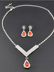 Women's Drop Earrings Choker Necklaces Bridal Jewelry Sets Ruby Classic Elegant   Jewelry ForWedding Anniversary Party/Evening