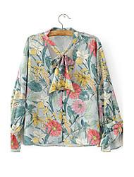 Для женщин На выход На каждый день Лето Рубашка Воротник-стойка,Секси Простое Уличный стиль Цветочный принт Длинный рукав,Хлопок,Тонкая