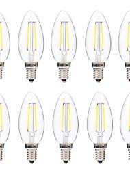 2W Ampoules à Filament LED C35 2 COB 200 lm Blanc Chaud Blanc Intensité Réglable AC 100-240 V 10 pièces