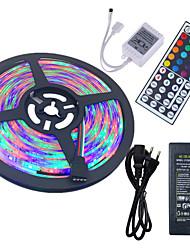 Hkv® 5m impermeabile 3528 rgb 300led rgb luce a strisce 44key ir telecomando 5a alimentatore ac 100-240v