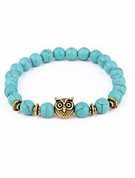 Owl Buddha Bead Bracelet Turquoise Stone Energy Natural Stone Bracelet