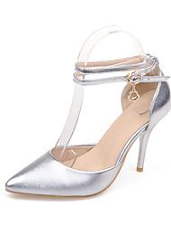 Damen High Heels Pumps PU Sommer Hochzeit Party & Festivität Kleid Pumps Schnalle Stöckelabsatz Gold Silber Purpur 7,5 - 9,5 cm