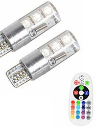 2pcs t10 w5w 5050 smd rgb voiture lecture lampe lampe 6 conduit 16 couleurs led flash / strobe ampoule avec télécommande dc12v