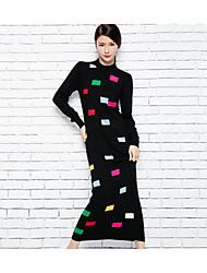 Feminino Tricô Vestido,Casual Simples Sólido Estampado Decote Redondo Longo Manga Longa Lã Outono Cintura Média Micro-Elástica Média