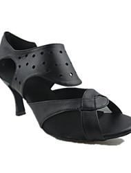 Для женщин Латина Натуральная кожа Сандалии Концертная обувь Сторонняя полые из На шпильке Черный 7,5 - 9,5 см Персонализируемая