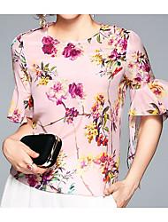 Damen Blumen Einfach Lässig/Alltäglich T-shirt,Rundhalsausschnitt Halbe Ärmel Seide