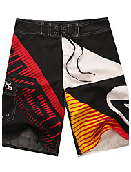 Men's Quick-Drying Breathable Bottoms Print Beach/Swim Shorts Polyester Summer Red/Grey/Blue