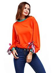 Women's Sport Casual Simple Street chic Spring Summer T-shirt,Striped Round Neck Long Sleeve Cotton Medium