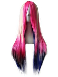 Synthetic Natural Wigs Long Straight Beige/Pink/Blue Ombre Wigs for Women Costume Wigs Capless Wigs