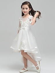 Princess Asymmetrical Flower Girl Dress - Tulle Round Neck with Bowknot Flower(s)