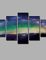 Frameless 5 Panel Wall Painting Printed on Canvas Posters Nighty Stary Sky Pictures Home Decor For Living Room Background