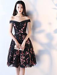 Robe de bal robe de soirée courte / mini tulle robe de cocktail avec arc (s)