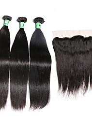 Trame cheveux avec fermeture Cheveux Malaisiens Droit 18 Mois 4 Pièces tissages de cheveux