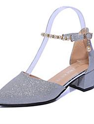 Damen High Heels Club-Schuhe PU Frühling Sommer Normal Kleid Blume Blockabsatz Gold Rose Rosa Dunkelgrau Silber 7,5 - 9,5 cm