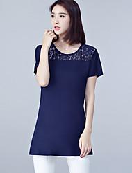 Damen Solide Retro Einfach Lässig/Alltäglich Übergröße T-shirt,Rundhalsausschnitt Sommer Kurzarm Baumwolle Polyester Spitze Dünn
