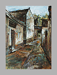 IARTS® Modern Abstract Oil Painting Classical Style Town Street View with Stretched Frame For Home Decoration Ready To Hang
