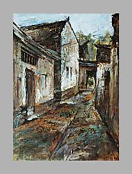 Pintados à mão Arquitetura Vertical,Artistíco Abstracto 1 Painel Tela Pintura a Óleo For Decoração para casa