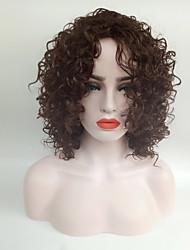 Mujer Pelucas sintéticas Sin Tapa Medio Rizado Castaño Medio Peluca afroamericana Para mujeres de color Peluca natural Las pelucas del