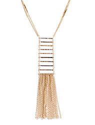 Lureme Fashion Women Sweater Necklace Long Chain Tassel Pendant with Beads Rectangle