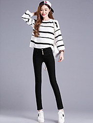 Women's High Waist strenchy Skinny Pants,Simple Pencil Denim Solid