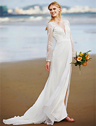 A-Line Plunging Neckline Sweep / Brush Train Chiffon Lace Wedding Dress with Lace Sash / Ribbon Side-Draped by LAN TING BRIDE®