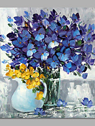 IARTS® Hand Painted Abstract Navy Blue Bouquet in Vase Floral Oil Painting with Stretched Frame Picture For Home Decoration Ready To Hang