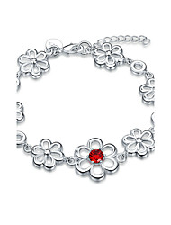 Exquisite Silver Plated Red Crystal Flower Style Chain & Link Bracelets Jewellery for Women Accessiories