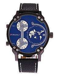 JUBAOLI Homens Relógio de Moda Único Criativo relógio Chinês Quartzo Calendário Três Fusos Horários Mostrador Grande Couro Banda Legal
