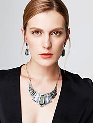 Jewelry Set Drop Earrings Bib necklaces Statement Jewelry Vintage Gemstone Crystal Cubic Zirconia Jewelry Black Purple Red Green Blue For