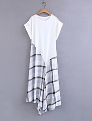 Noir et blanc Robe Femme Vacances Sortie Décontracté / Quotidien simple Chic de Rue,Damier Col Ras du Cou Au dessus du genouManches
