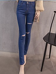 Women's High Waist Micro-elastic Skinny Pants,Street chic Simple Relaxed Slim Pure Color Ripped Solid Textured