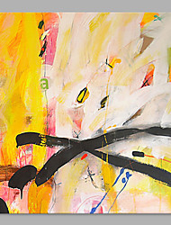 IARTS® Hand Painted Abstract Oil Painting  Bright Yellow & Black Line with Stretched Frame Handmade Oil Painting For Home Decoration Ready To Hang