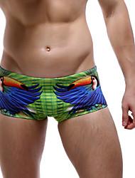 Hot! Fashion Design  6 Colors Men's One-piece Lace Up Color Block Sport Mesh Solid  Personality Birds Beachwear Swimwear