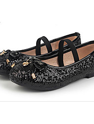 Girls' Flats Comfort PU Spring Fall Casual Walking Comfort Magic Tape Low Heel Black Flat
