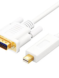 Mini Displayport Cabo adaptador, Mini Displayport to VGA Cabo adaptador Macho-Macho Aço Galvanizado Dourado 1.8M (6 pés)