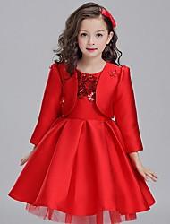 Vestido de baile curto / mini vestido de menina de flor - mikado mangas compridas colher com bordado