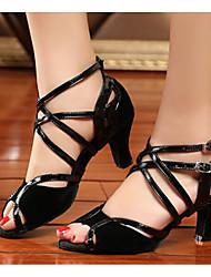 Damen Tanz-Turnschuh Echtes Leder PU Sandalen Sneakers Innen Blockabsatz Schwarz 5 - 6,8 cm