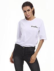 Tee-shirt Femme,Citations & Dictons Plein Air Sortie Décontracté / Quotidien Athleisure simple Demi Manches Col Arrondi Coton