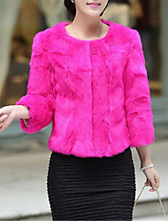Women's Wedding Party Party/ Evening Nature Inspired Fall Winter Fur Coat,Solid Round Neck 3/4 Length Sleeve Short Rabbit Fur